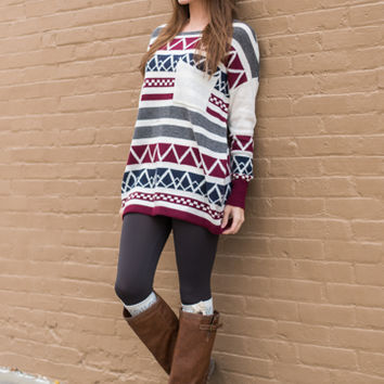 In The Alps Sweater, Burgundy/Navy