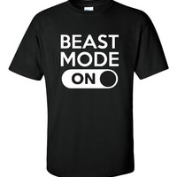 BEAST MODE Great Fitness Workout Gamers T Shirt Go INto Beast Mode Cool Shirt Gift Unisex Womans Kids