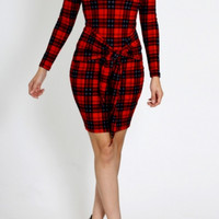Red And Black Plaid Bodycon Dress