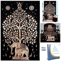 215x150cm Indian Elephant Pattern Mandala tablecloth Wall Hanging Moroccan Indian Printed Decorative Wall Elephant Tapestries