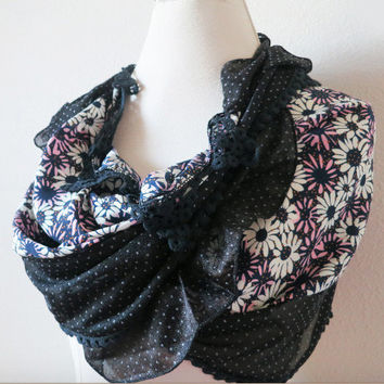 Black Lace Scarf, Purple Black Floral Print Scarf, Elegant Additions Scarf