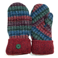 Red-Blue Lambs Wool Mittens - Large - 0767
