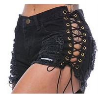 Women's bandages shredded washed denim hot pants