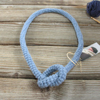 Blue Knot Necklace. Organic Pure Wool. Eco Crochet Jewelry.