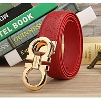 FERRAGAMO BELTS MEN WOMEN 100% REAL LEATHER BELT +BOX