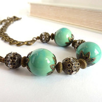 Turquoise Statement Necklace Bronze Vintage by RockStoneTreasures