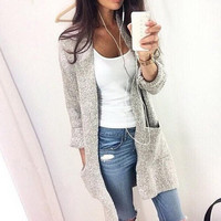 Autumn Winter Fashion Women Long Sleeve loose knitting cardigan cardigan sweater Womens Knitted Female Cardigan pull femme
