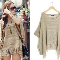 3503 is cutout batwing sleeve knitted sweater cloak cape WR (Size: M) = 1946559108