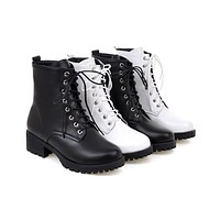 Round Toe Lace Up Short Boots in Black White 1783