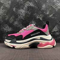 Balenciaga Triple S Trainers Peach Grey Sneakers