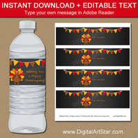 EDITABLE Thanksgiving Drink Labels - Thanksgiving Water Labels - Printable Thanksgiving Decorations - Thanksgiving Favors - Instant Download