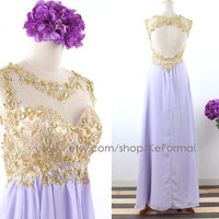 Gold Lace with Crystal Long Prom Dresses, Lavender Open Back Formal Dresses, Long Chiffon Wedding Party Dress, Lilac Prom Gown