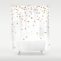 Pink & Gold Confetti Shower Curtain
