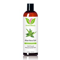 Aloe Vera Gel From Organic, Cold Pressed Aloe for Face, Body, and Hair - 12 oz