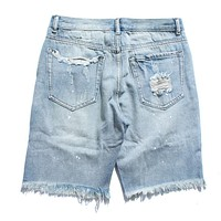 Ripped Destroyed Distressed Denim Shorts Men Hole Jeans Shorts Male Blue Hip Hop Casual Dot Short Jean