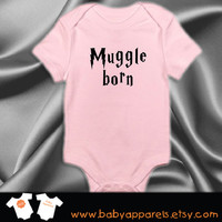 Muggle Born - Harry Potter Baby Clothing, New Baby, Baby Gift, Baby Clothes, Baby Bodysuit, Baby Boy, Baby Girl, Funny Baby Clothing