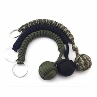 Stainless Steel Ball Pendant Paracord Parachute Cord Key Chain Outdoor Climbing Umbrella Rope Survival Kits 1PC