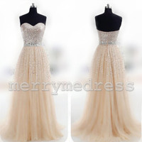 Beads Sequins Sweetheart Strapless Long Bridesmaid Dress, Floor length Tulle Formal Evening Party Prom Dress New Homecoming Dress