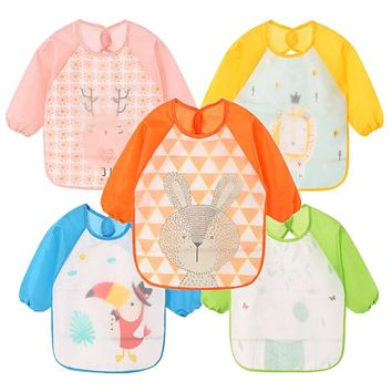 Baby Bibs Waterproof Kid Eating Clothing Children's Long Sleeves Feeding Smock Bib Baby Apron Bandana Bebes Bibs