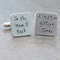 Personalized Cufflinks -Square Cufflinks - Hand Stamped Cufflinks - Moon and Back - Gift for Men
