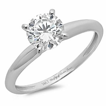 14K White Gold 3CT Round Brilliant Cut Solitaire Engagement Ring