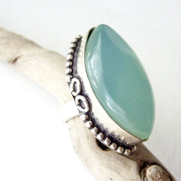 Statement Ring. Blue Chalcedony. Handmade Bohemian Vintage Jewelry. Adjustable