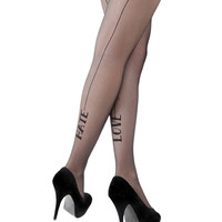 Black Love/Hate Seamed Tights