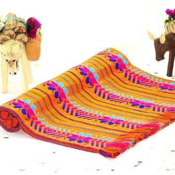 Mexican Table Runner in Orange, Mexican Fiesta Party Decorations