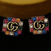 GUCCI GG Double G Earrings Ancient Gold Color Preserving Pure Silver Pin Earring Temperament Stud Earrings