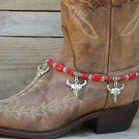Boot Jewelry, Boot Charm Cow Skull, Bling Boot Jewelry