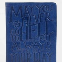Embossed Leather Journal- Navy One