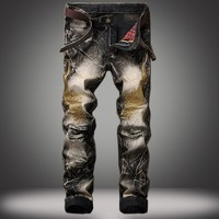 Summer Strong Character Ripped Holes Denim Vintage Jeans [10366809539]