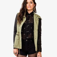 Faux Leather Sleeve Anorak