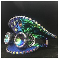 Mermaid Green Sequin Military Hat with Refraction Goggles