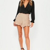 Missguided - Tan Faux Suede Frill Hem Eyelet Detail Shorts