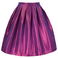 Purple High-Waisted Skater Skirt