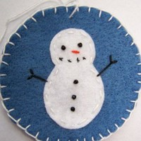6 Snowman Penny Rug Blue Christmas Ornaments Bead Eyes Handmade OOAK