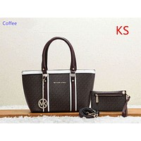 """Michael kors"" casual wild large capacity solid color fashion shopping bag handbag shoulder bag Coffee"