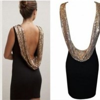 Black Sleeveless Dress with Gold Sequin Scoop Back