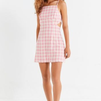 UO Cut-Out Gingham Mini Dress | Urban Outfitters