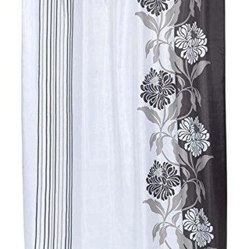 BenandJonah Collection Fabric Shower Curtain 70 x 72 inch  Floral Design Black Color