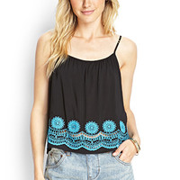 LOVE 21 Crochet Hem Cami Black/Aqua