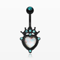 zzz-Blackline Crowned Opalite Heart Belly Button Ring