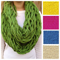 Choose from 20 Colors, Solid Arm Knit Infinity Scarf
