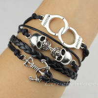 Pirates of the Caribbean anchor bracelet, skulls, handcuffs bracelet, black leather bracelets, cuff present personality
