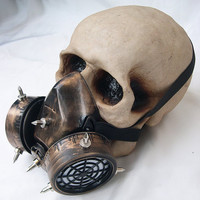 Brass Gold Antique Steampunk Chemical Nuclear Fall Out Biological Warfare Respiratory Gas Mask with SPIKES-A Burning Man-OCCUPY Must Have