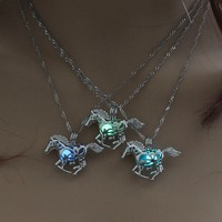 Running Horse Luminous Locket Pendant Necklace Glowing in the Dark Vintage Jewelry Necklace