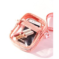 Adidas Originals Tide brand women's transparent Messenger bag pink