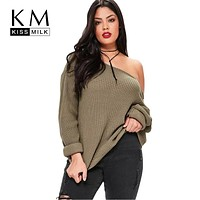 Kissmilk 2018 Big Size New Fashion Women Clothing Casual Solid Sexy Sweater Cold Shoulder Loose Plus Size Sweater 3XL 4XL 5XL