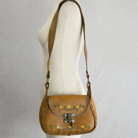 Vintage 70s Tooled Leather Saddle Bag Yellow Roses Hippie Boho Dream Shoulder Purse